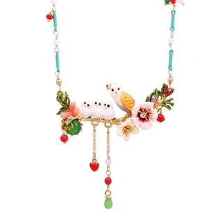 法國品牌 Les Nereides 設計師手工 琺瑯釉 貓頭鷹芙蓉花系列 頸鏈 鎖骨鏈 (LES105)