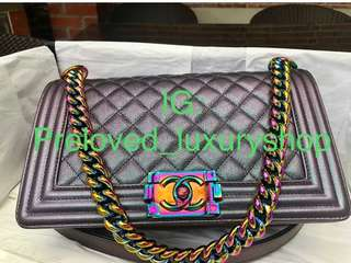 Chanel Purple Rainbow old medium boy