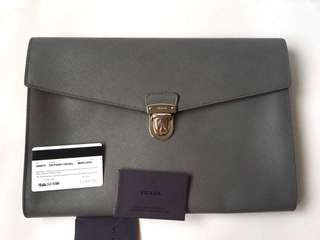 Authentic Prada Saffiano Metallic Grey Portfolio Document Bag