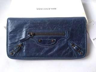 Authentic Brand New Balenciaga Round Fastener Long Wallet Giant Money Organizer Navy Leather