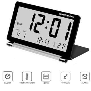 1423. SOEKAVIA Ultra-thin Clamshell Electronic Desk Clock LCD Travel Alarm Clock Thermometer Stylish Portable Folding Mute (Black) + Free Leather Pouch