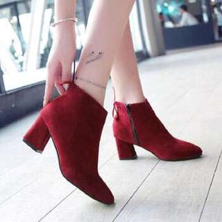 Side Zip With Back Ribbon Tie Suede Pointy Boots