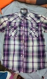 🚚 89成新bossini紫色短袖襯衫S