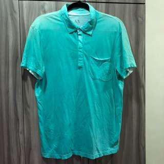 A/X armani exchange polo shirt teal M