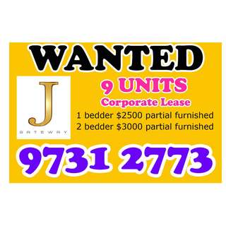 9 UNITS WANTED IN J GATEWAY - START AUGUST 2018