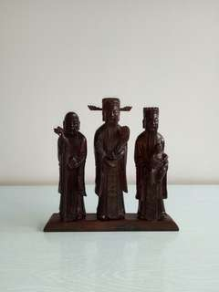 Old black Wooden carving set of three stars fu lu shou height 15-17cm perfect condition