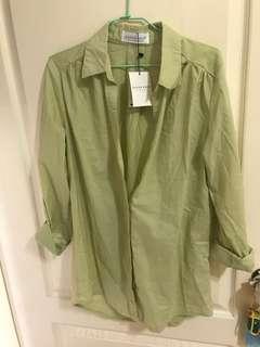 🚚 Queen shop 草綠襯衫全新#女裝半價拉