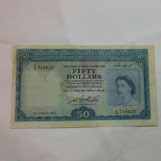 Malaya $50 1953 Note