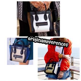 PO.3-5hari. Super quality of Celine bag. Size 20x10x18cm. With Box. (LIMITED STOCK). Celine seri Nano Luggage Colorblock bag. 5 Warna.