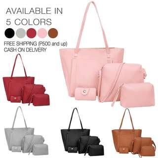 4 in 1 Bag Korean Bag Leather Tote Bag Set Shoulder Bag Set EZ