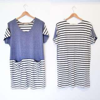 Beams Heart 日系知名品牌 拼接藍白橫條紋灰色棉洋裝