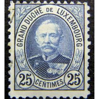 1893年盧森堡大公國(Grand Duchy of Luxembourg)大公阿道夫像25仙郵票