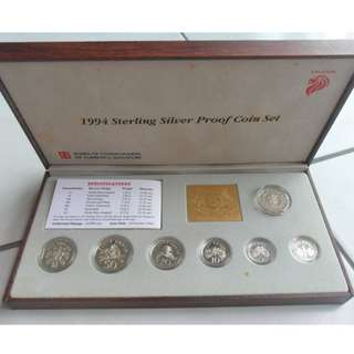 1994 Singapore Silver Proof Coin Set (1¢ - $5 Coin)