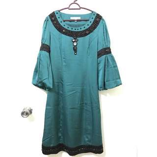 Midi dress baju kurung moden emerald green beads #july70