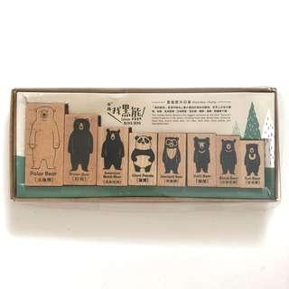 Taiwan black bear wood rubber stamp set