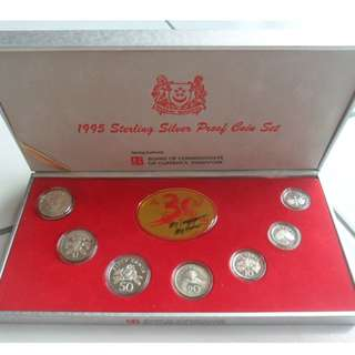 1995 Singapore Silver Proof Coin Set (1¢ - $5 Coin)