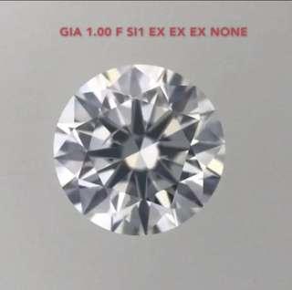GIA 鑽石 1.00 F SI1 EX EX EX NONE