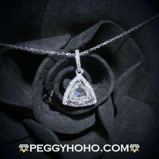 【Peggyhoho】新18K白金71份罕有三角形鑽石配11份真鑽石吊咀|三角形 閃爍|超值閃爆型格