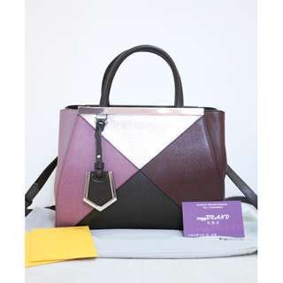 95% New FENDI 8BH253 2 Jours 粉紅皮 銀色 牛皮 手提袋 肩背袋 手袋 Pink Red Silver Calf Handbag
