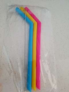 Non-Toxic Silicone Straws (3pcs) with Cleaning Brush