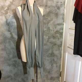 🚚 灰色蠶絲造型袖套 亦可當絲巾 露指手套 多種穿法 二手近全新