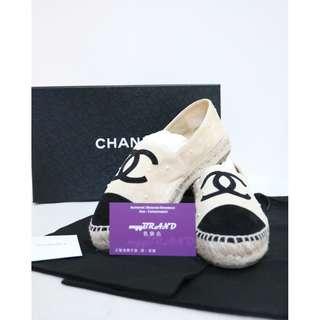 95% New CHANEL ZG29762 黑色 杏色 麂皮 白色珍珠 平底鞋 鞋 Espadrilles Black Beige Suede Espadrilles with White Pearl Ballet Flat