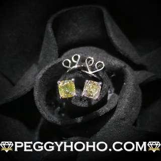 【Peggyhoho】全新18K白金50份淺黃色方鑽耳環|罕有彩黃色方鑽 |LIGHT YELLOW