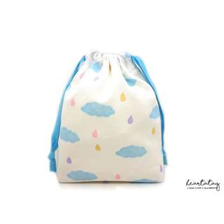 Rainy Clouds Handmade Canvas Drawstring Pouch