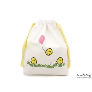 Chicky Balloon (Pink) & Friends Handmade Canvas Drawstring Pouch