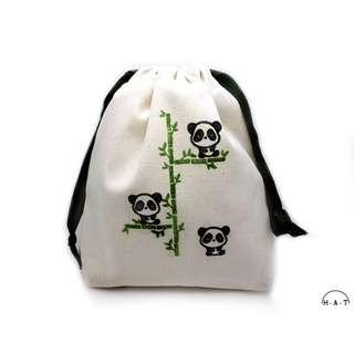 The Zen Pandas Handmade Canvas Drawstring Pouch