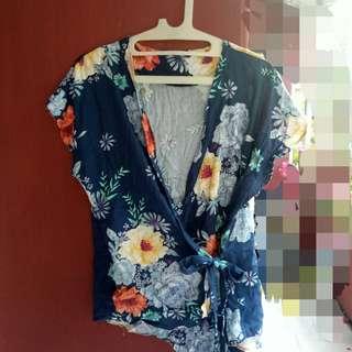 baju tshirt flower kimono