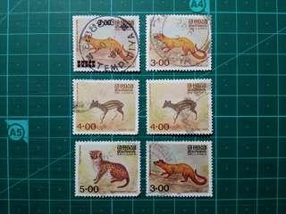 1981 斯里蘭卡 動物郵票 舊票六枚