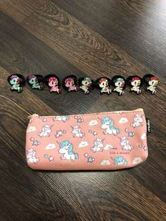 New girls unicorn hair ties and unicorn pencil case or pouch