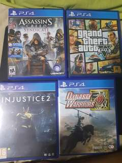 ps4 games-gta,dyansty warrior,injustice and assassin creed(can nego)