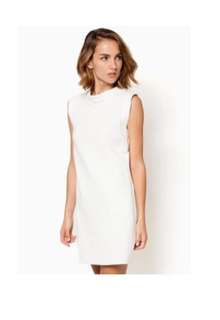 Zalora high colar shift dress in white