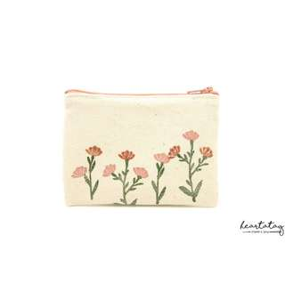 Wild Flowers (Pink) Handmade Canvas Pouch