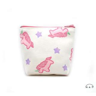 Pink Unicorns Handmade Canvas Pouch