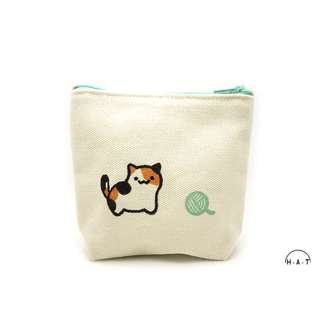 Calico Cat with Yarn Ball (Green) Handmade Canvas Pouch