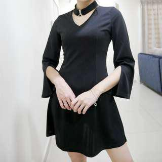 Choker Bell Sleeve Little Black Dress