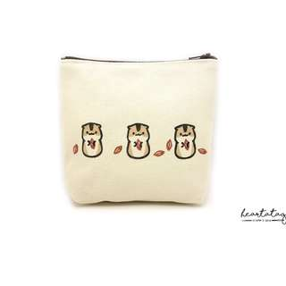 The Three Hamsters Handmade Canvas Pouch