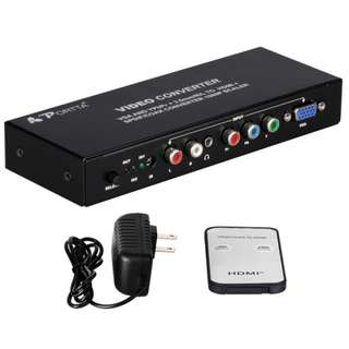 986. PORTTA video converter VGA AND YPbR + 3.5mm/R/L to HDMI+SPDIF/COAX CONVERTER 1080P SCALER