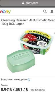 AHA By Cleansing Research Esthetic Soap 100g (Brand New)