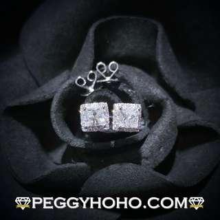 【Peggyhoho】全新18K白金44份公主方鑽石配小鑽 共54份鑽石耳環|罕有 PRINCESS CUT |新款大睇