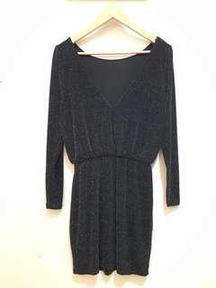 Sparkly Bodycon Slinky Long Sleeve Dress