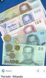 Selling Thai baht left over from holiday