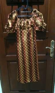 Dress Panjang Coklat - tangan karet [size S]