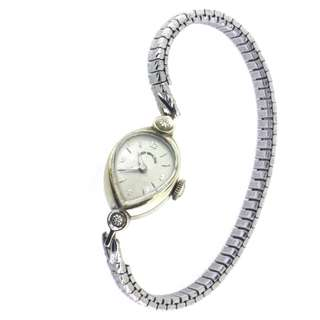 Lady Hamilton 14K White gold lady watch, vintage 1930s, stretchable metal stripe, diamond watch A06