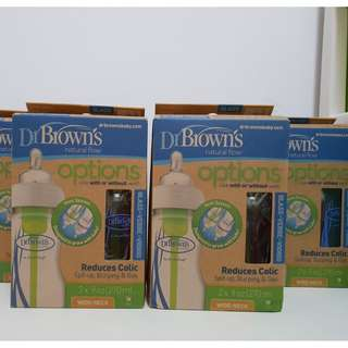 Dr Brown's Wide Neck 2x 270ml Option GLASS Bottle
