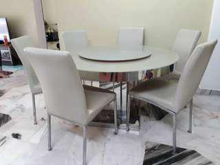 Dining table with glass top and 6 chairs
