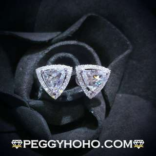 【Peggyhoho】全新18K白金 1卡48份罕有三角型ROSE CUT鑽石配小鑽 共1卡66份鑽石耳環|罕有極白三角鑽 |新款大睇